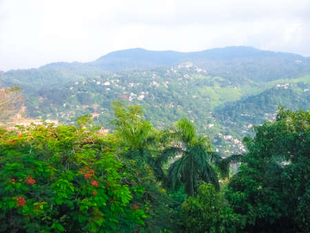View of the foggy town of Kandy in Sri Lanka under conditions of low visibility