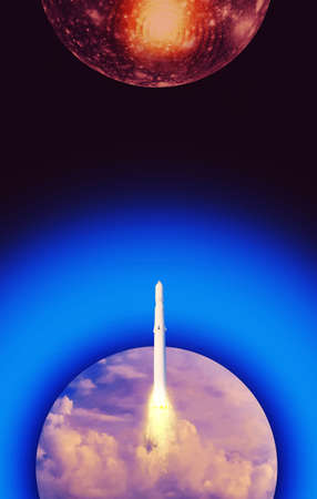 Spacecraft takes off into space to Mars or red planet. Rocket takes off into the sky. Concept of start