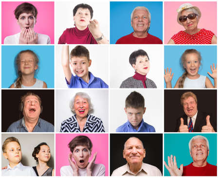 Diverse people with different emotions. Collage of diverse multi-ethnic and mixed age range people expressing different emotions