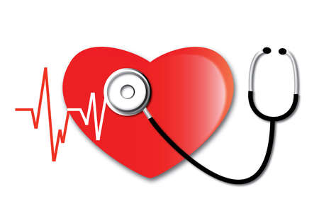 The heartbeat line and phonendoscope. The heart and cardio concept and phonendoscope. Icon Vector Illustration