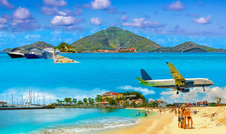 Collage from views of the Caribbean beaches of Saint Martin