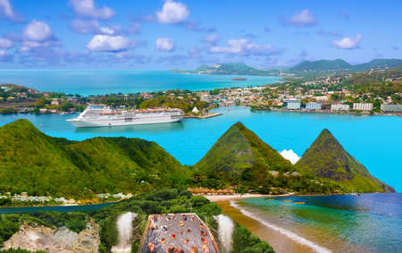 The collage about beautiful beaches in Saint Lucia, Caribbean Islands