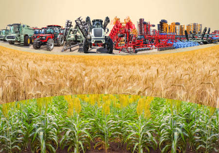 Collage about farm, agriculture, farming. Concept of equipment readiness for agricultural work - for sowing and harvesting. Colorful tractors, cultivators, sprayers, disc harrows, combines