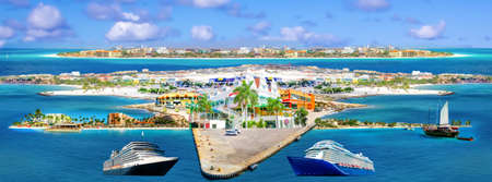 Collage from views of Oranjestad at Aruba - beautiful Caribbean island.