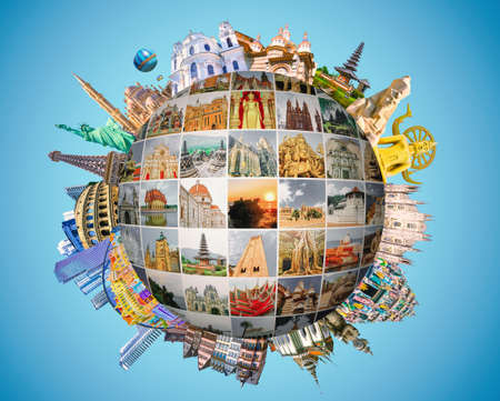 World religious and architecture monuments - collage or globe from different religions from Bali, Thailand, Cambodia at Asia and Florens, Spain, Santorini, Venice in Europe. Archivio Fotografico