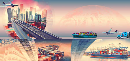 Industrial container cargo freight ship for import or export in port. Abstract design background, trucks and transport. Highway and delivering. Collage. Logistics concept