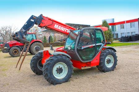 Kyiv, Ukraine - August 2, 2020: Manitou Maniscopic four wheel drive forklift tractor. Telescopic Handler or loader Manitou MLT-X 1035 LT LSU