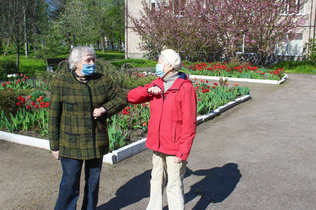 Two senior women wearing facial masks greeting with hand sign, outdoor at park Stockfoto