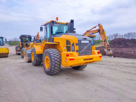 Kiyv, Ukraine - August 30, 2020: Forklift truck Volvo L120GZ at construction site at Kiyv, Ukraine - August 30, 2020