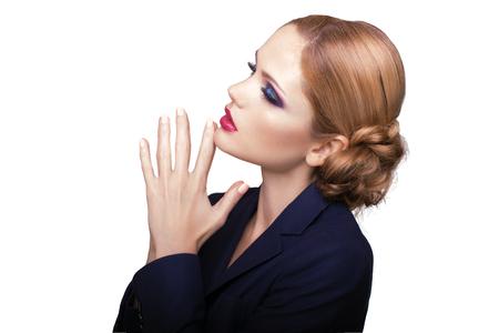 Portrait of beautiful brunette woman. Fashion photo