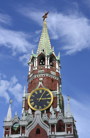 spasskaya: Spasskaya tower of the Moscow Kremlin summer day on the blue sky background