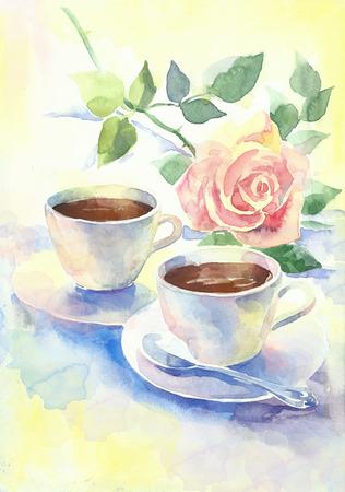 desayuno romantico: Desayuno rom�ntico con caf� y una rosa rosa pintado a mano de la acuarela Ilustraci�n Foto de archivo