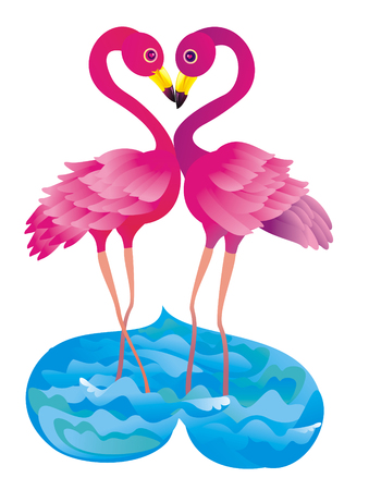 kissing pink flamingos Vector