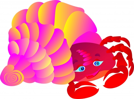 sea anemone: cartoon Crab in a cockleshell Illustration