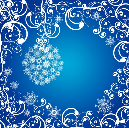 Christmas balls covered with snowflakes on blue background. illustration Stock Vector - 8157123