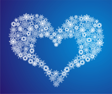 Heart of Snowflake. Heart Shape composed of snowflakes with hearts design, arranged to make an organic heart frame. Christmas gift concept. May be used to illustrate christmas sale.