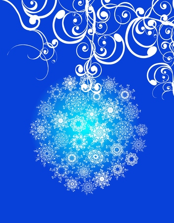 spherule: Christmas balls covered with snowflakes on blue background. illustration