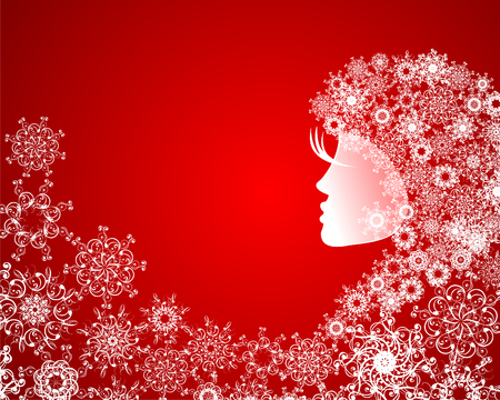 Abstract girl with snowflakes in hair. Grunge illustration on blue christmas background with abstract elements, snowflakes.  Vector