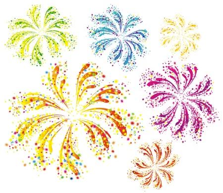 tűzijáték: Fényesen színes vektor tűzijáték, elszigetelt, fehér, háttér
