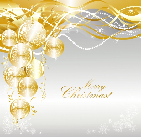 Christmas background with gold evening balls Vector
