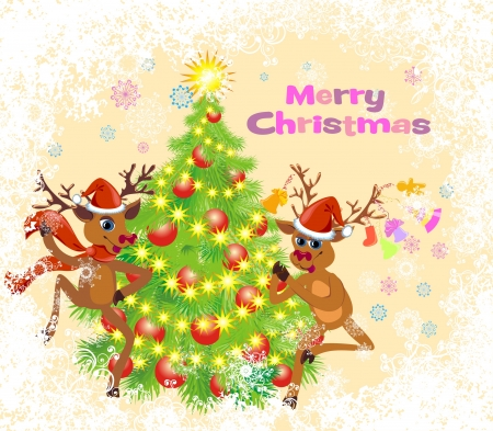 Christmas greeting card whit two dancing Reindeer Vector