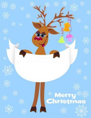 Merry Christmas card with christmas deer and blank paper for your text Illustration