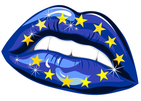 European Union Flag in female lips  Vector