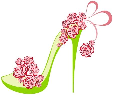 Rosas sapatos de salto alto sobre um salto alto decorado com rosas