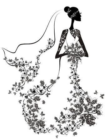 Elegante bruid Vector Illustratie