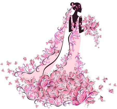 Mariée en robe à fleurs avec des papillons