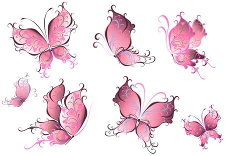 papillon dessin: Ensemble de papillons roses isolés sur un fond blanc