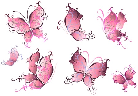 pink swirl: Set of pink butterflies isolated on a white background