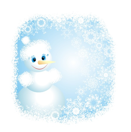 Christmas background with snowman, vector illustration  Vector