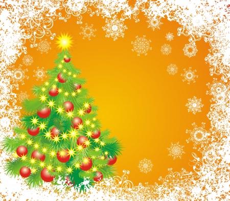 Christmas tree whit balls and garland Stock Vector - 16258471