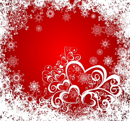 whit: Christmas background whit hearts