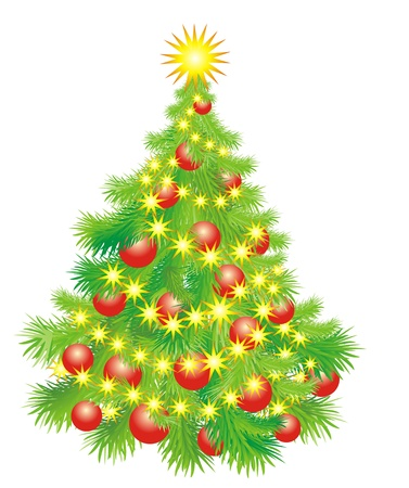 Christmas tree whit balls and garland Stock Vector - 16258359