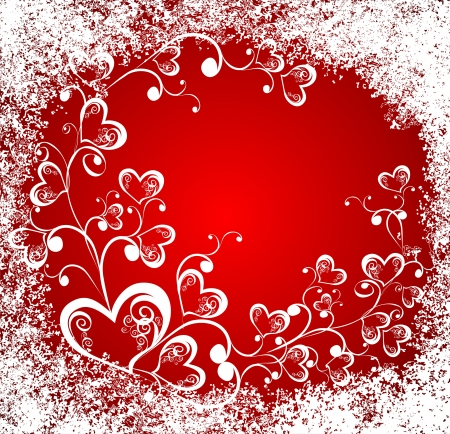 xmas floral: Christmas hearts, celebration background  Illustration