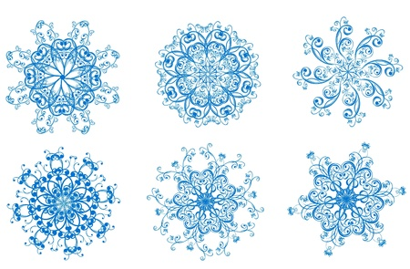 Set of blue vector snowflakes  Vector winter element for design  Stock Vector - 16258431