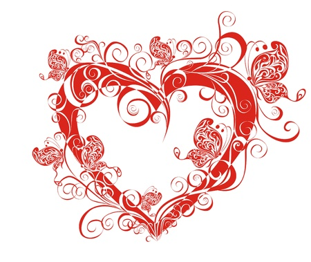 Valentines heart  Beautiful heart with floral ornament Illustration