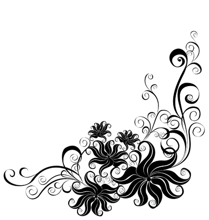 flore: Decorative ornament  Floral pattern with butterfly, element for design  Illustration
