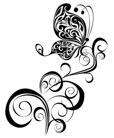 Decorative vector ornament  Vector floral ornament with butterfly, element for design