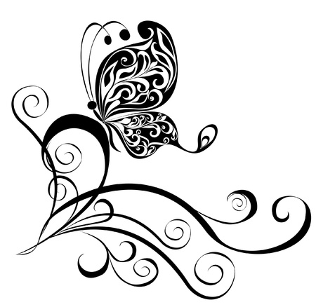 flores: Decorative vector ornament  Vector floral ornament with butterfly, element for design