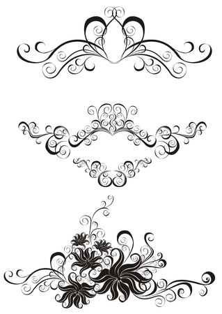 victorian fashion: Decorative ornament  Floral pattern with butterfly, element for design  Illustration