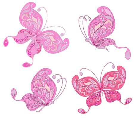 pink butterfly: Set pink butterfly