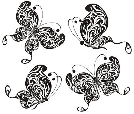 Set black and white butterfly Vector