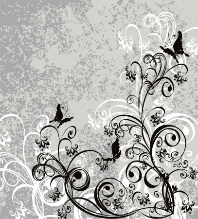 Vector floral ornament on dirty background