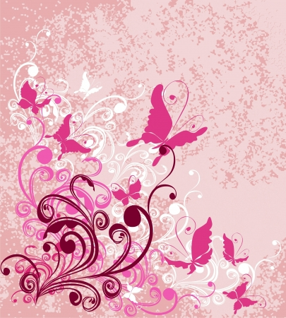 pink butterfly: Vector floral ornament on dirty pink background  Illustration