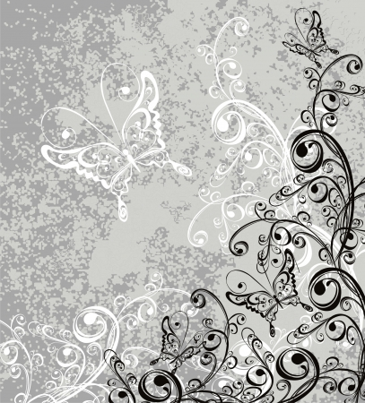 Vector floral ornament on dirty background  Vector