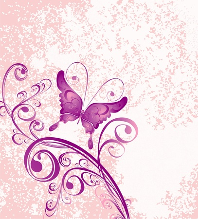 papillon rose: Vecteur d'ornement floral sur fond rose sale