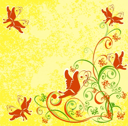 Vector floral background with butterfly  Stock Vector - 16258396
